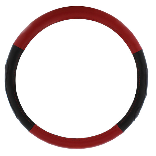 """Universal 18"""" Leather Steering Wheel Cover Red"""