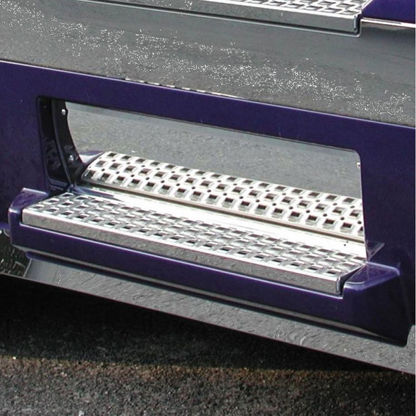 Volvo VN Stainless Steel Front Lower Step Kick Plate On Truck