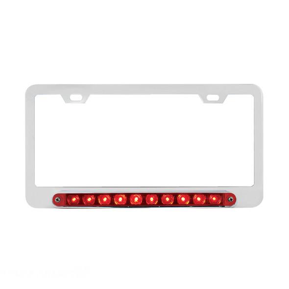 Chrome 10 LED STT Light License Plate Frame