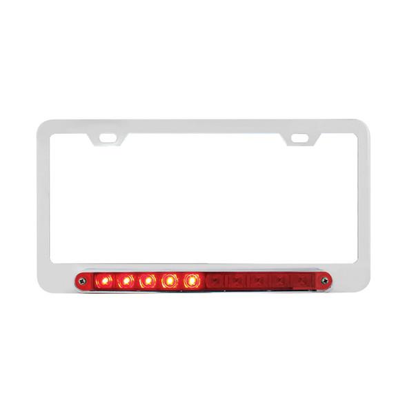 Chrome 10 LED STT Light License Plate Frame Left Turn
