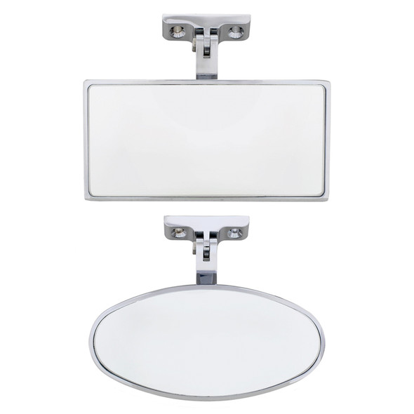Universal Chrome Interior Rear View Mirrors With Screw-On Mount