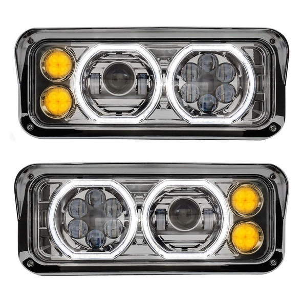 LED Projector Headlight Assembly With Chrome Finish Turn Signal On
