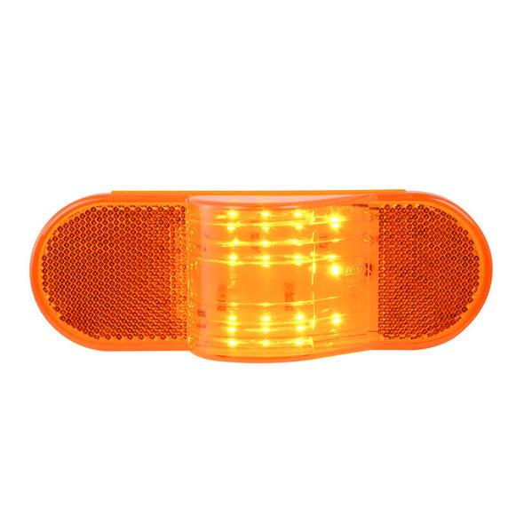 12 Amber LED Oval Side Marker & Turn Light With Amber Lens On