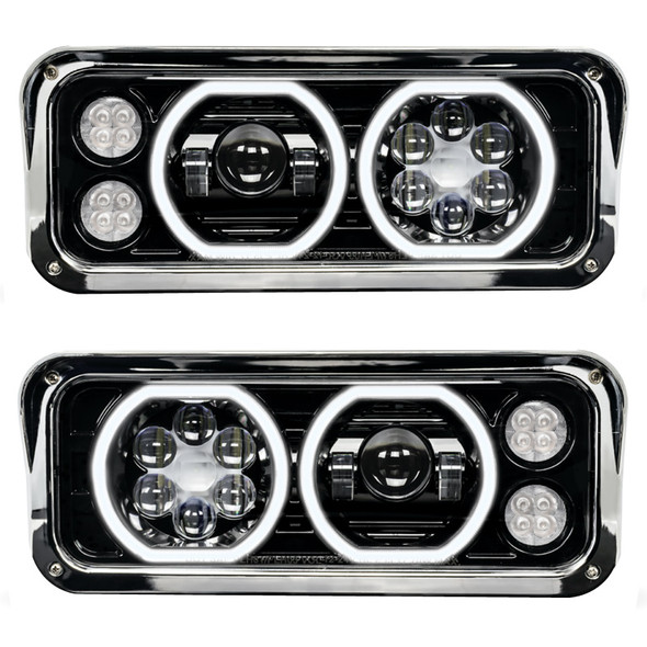 Kenworth W900 LED Projector Headlight Assembly With Black Finish
