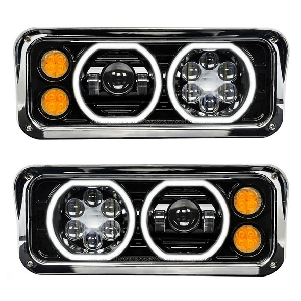 Freightliner Classic LED Projector Headlight Assembly With Black Finish Turn Signal On