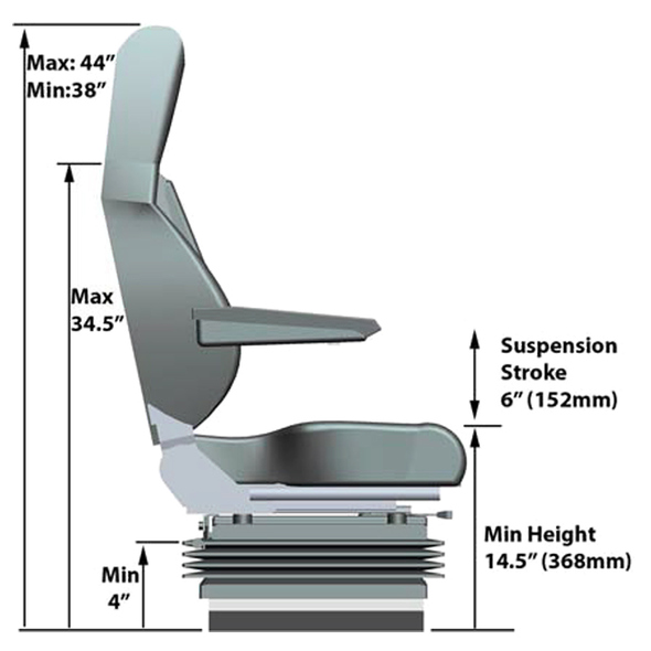 Harrier High Back Truck Seat By Knoedler Side Schematics