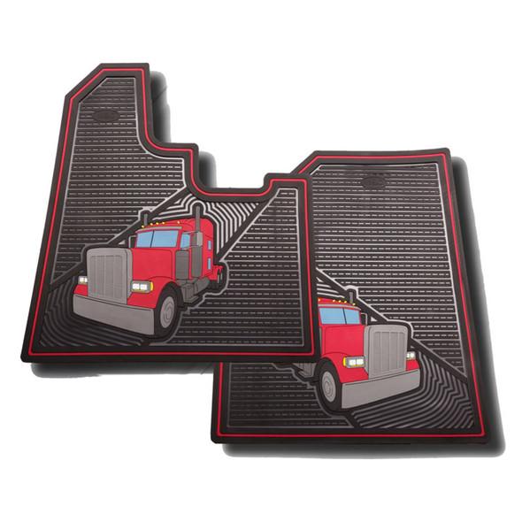 Peterbilt 379 Rubber Floor Mats 2005-Newer Red