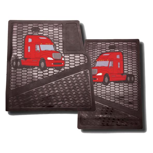 Freightliner Columbia Rubber Floor Mats Red