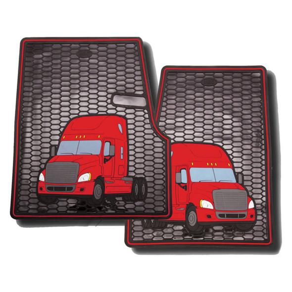 Freightliner Cascadia Rubber Floor Mats Red