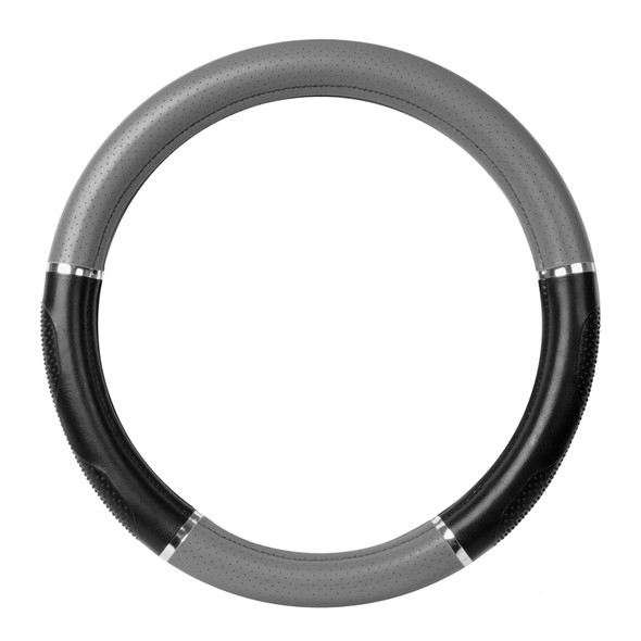 """18"""" Black And Grey Steering Wheel Cover With Chrome Trim By Grand General"""
