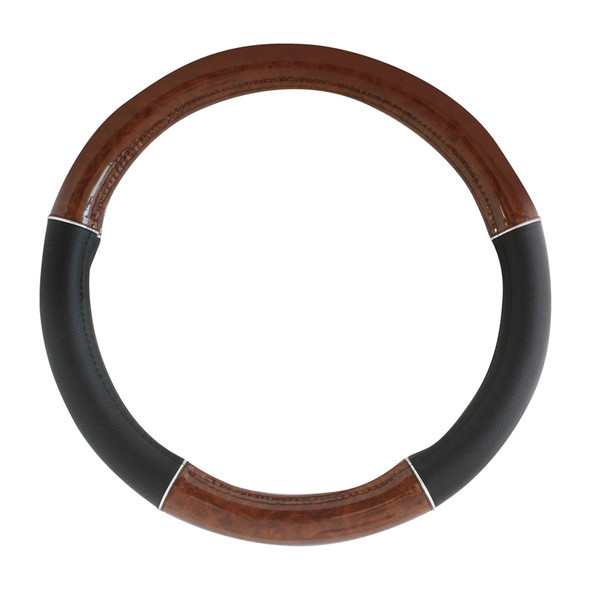 """20"""" Black And Wood Steering Wheel Cover With Chrome Trim By Grand General"""