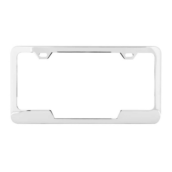 Universal 2 Hole License Plate Frame With Center Cut By Grand General Chrome