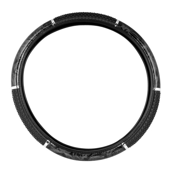 """18"""" Black Wood Steering Wheel Cover With Hand Grips By Grand General"""