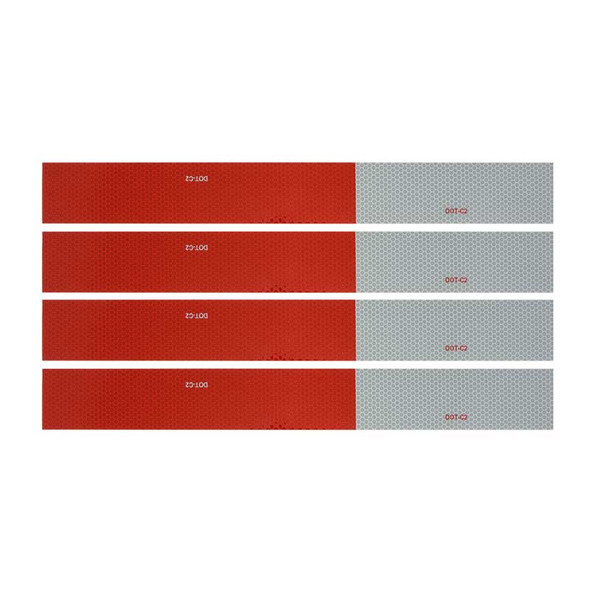 """Red & White DOT-C2 Conspicuity Reflective Tape 18"""" Strips By Grand General"""