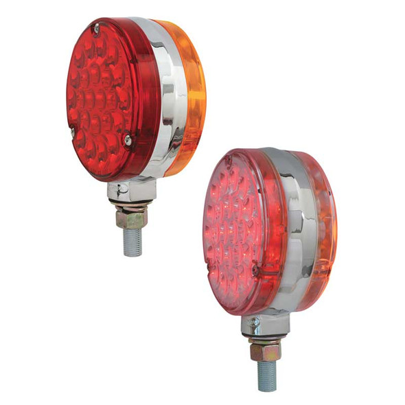"""4"""" Double Face Pearl LED Pedestal Light By Grand General Amber and Red Lens"""