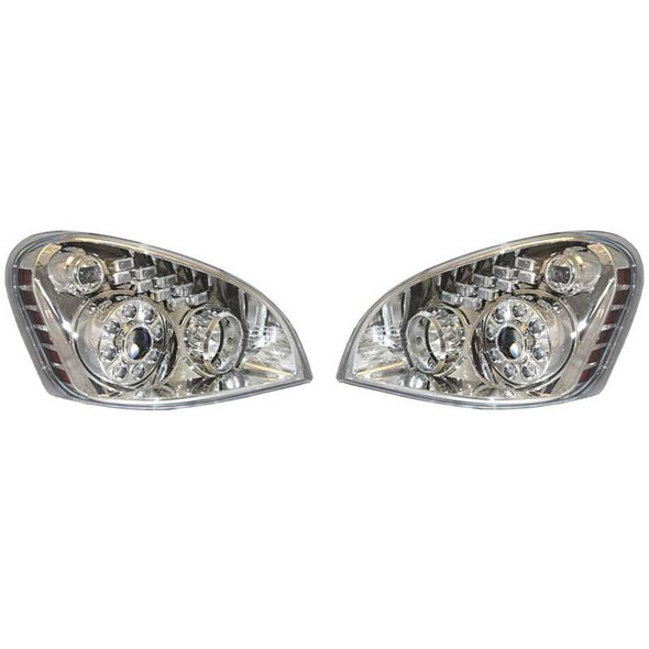 Freightliner Cascadia Projection Headlight Assembly With LED Daytime Park & Signal Lights Both Sides
