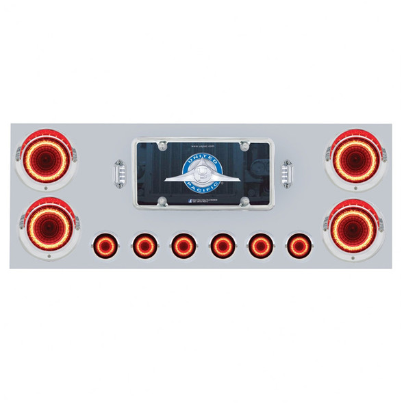 """Stainless Steel Rear Center Panel With 4"""" Round & 2"""" Round Mirage Red Lens LEDs"""
