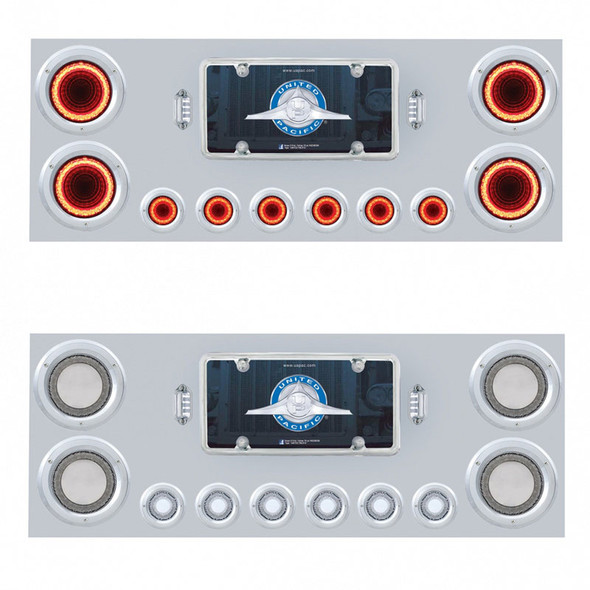 """Stainless Steel Rear Center Panel With 4"""" Round & 2"""" Round Mirage Red Lens LEDs Both"""