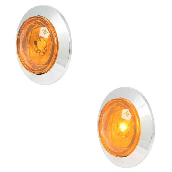 "1"" Dual Function Diamond Lens LED Marker Light With Bezel By Grand General Amber Lens Amber LED"
