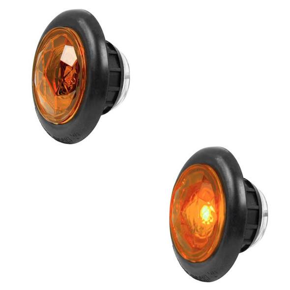 "1"" Dual Function Diamond Lens LED Marker Light With Rubber Grommet By Grand General Amber Lens Amber LED"