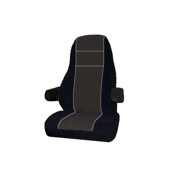 Kenworth T600 T700 T800 T2000 W900 Premium V-Truck Factory Seat Cover - Black & Grey