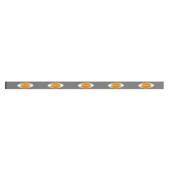 """Kenworth Stainless Steel Sleeper Panels With P1 Style Amber LEDs 86"""" Sleeper"""