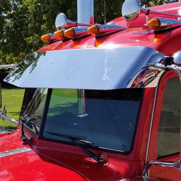 """Peterbilt 389 Pride And Class Stainless 14"""" Drop Visor No Drilling Required Side View"""