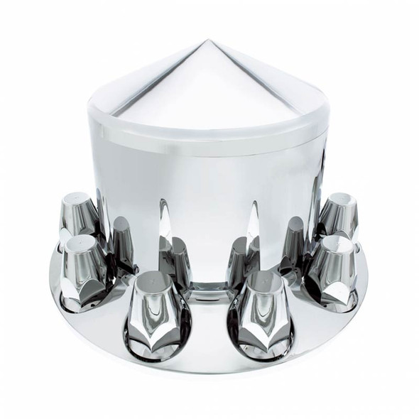 Chrome Rear Axle Wheel Cover With Removable Pointed Hubcap & Lug Nut Covers