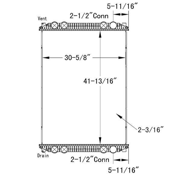 Freightliner Century Columbia FLD120 M2 OSC Radiator Technical Drawing