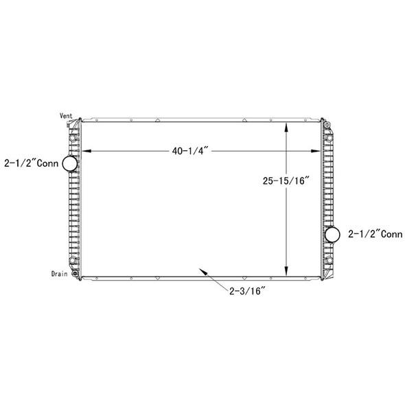 International 8600 9200i Transtar Prostar OSC Radiator Technical Drawing