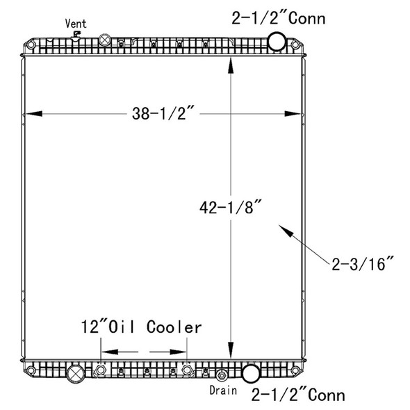 Freightliner Cascadia Columbia OSC Radiator Technical Drawing