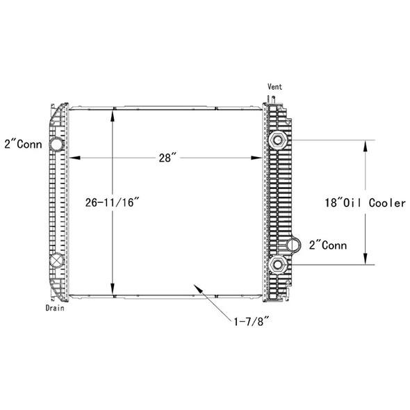 Ford B800 L8501 L8511 LT8513 OSC Radiator Technical Drawing