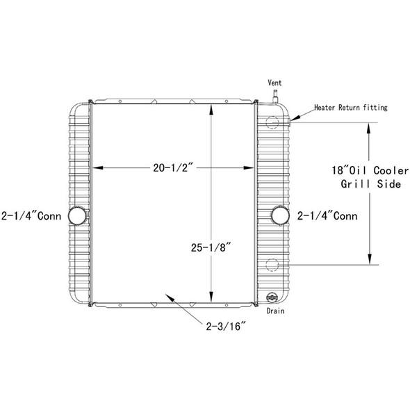 International 3200 4200 4300 4400 OSC Radiator Technical Drawing