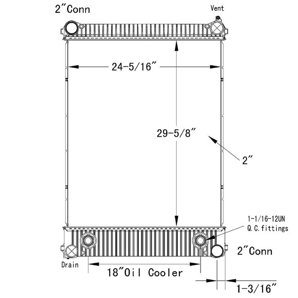 Freightliner FL106 Sterling Acterra OSC Radiator Technical Drawing