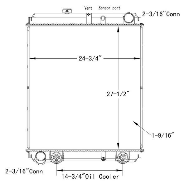 Hino 238 258 268 338 OSC Radiator Technical Drawing