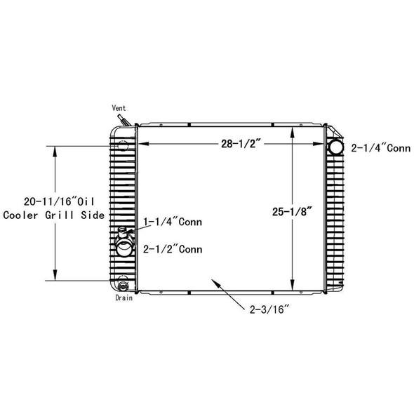 International 4100 4400 OSC Radiator Technical Drawing