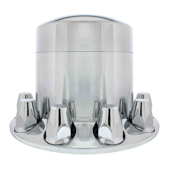 Chrome Rear Axle Wheel Cover Extra Tall With Removable Hubcap & Lug Nut Covers Side View