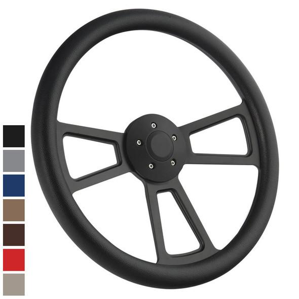 """Half Wrap Steering Wheel 18"""" Black - Styles"""