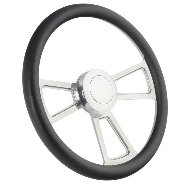 "Highway Wheels Half Wrap Steering Wheel 18"" Polished Finish - Black"