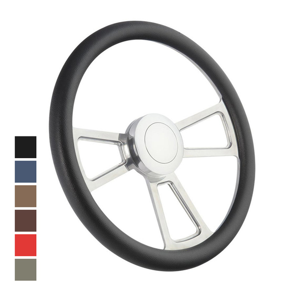 "Highway Wheels Half Wrap Steering Wheel 18"" Polished Finish"