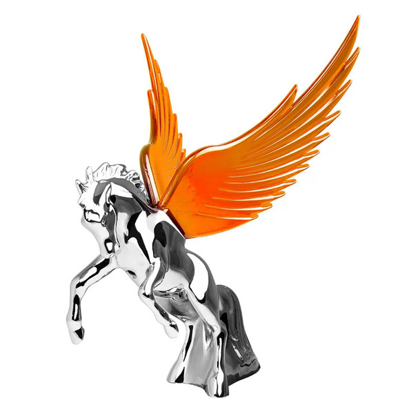 Chrome Fighting Stallion Hood Ornament With Illuminated Wings - Amber
