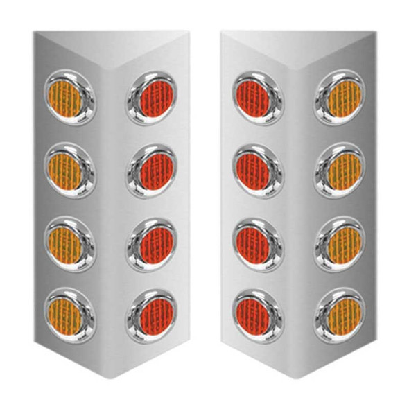 """Mack Double Sided Fire Wall Air Cleaner Light Bar With 2"""" LEDs - Amber & Red"""