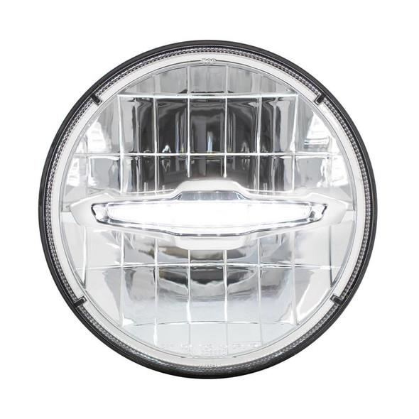 "7"" Round High Power LED Headlight with LED Daytime Running Light Bar White"