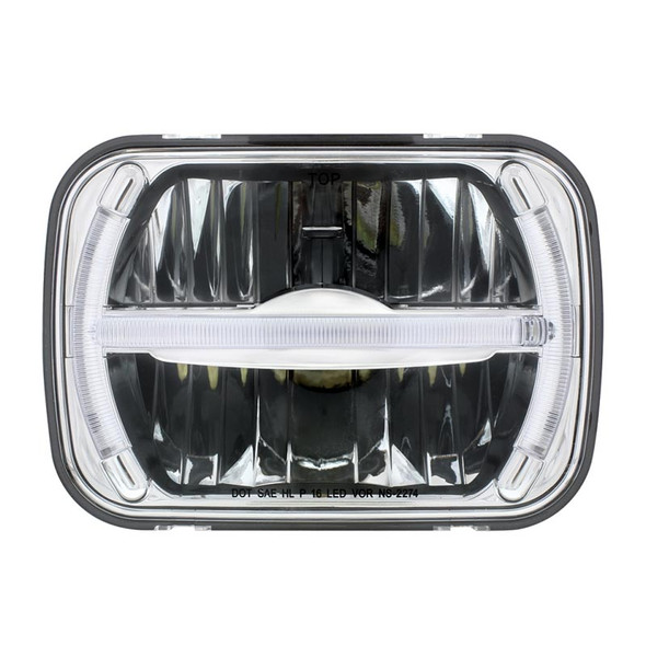 """5"""" x 7"""" LED Rectangular Light High And Low Beam with LED Light Bar Front View"""