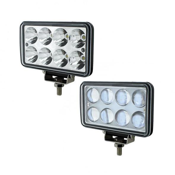 8 High Power LED Rectangular Work Light 1200 Lumens