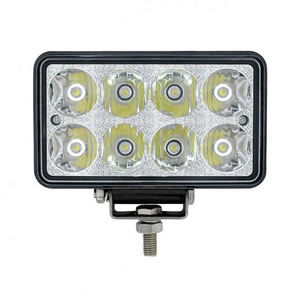 8 High Power LED Rectangular Work Light 1200 Lumens Chrome Lens