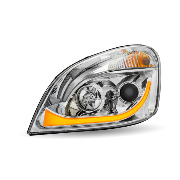 Chrome Projector Headlight With LED Dual Function Turn Signal Right Amber