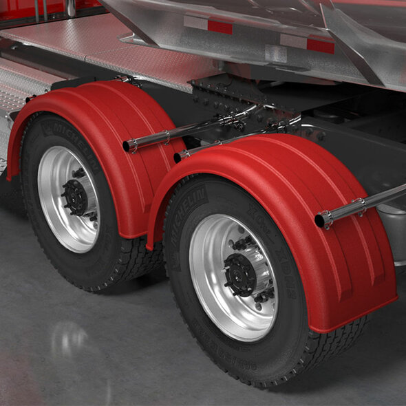 Minimizer 2220 Series Truck Red Poly Super Single Fenders On Truck