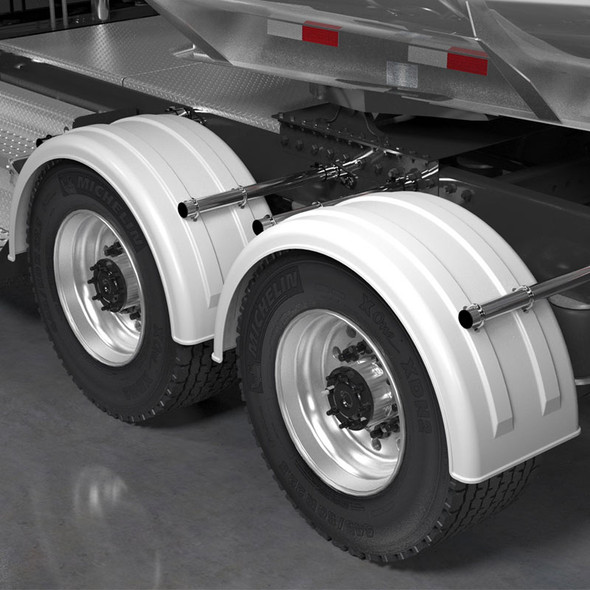 Minimizer 2220 Series Truck White Poly Super Single Fenders On Truck