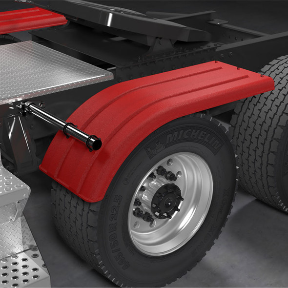 Minimizer 4070 Series Red Poly Super Single Truck Half Fenders On Truck